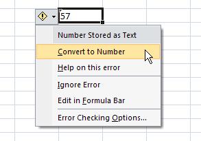 Excel's convert to number popup