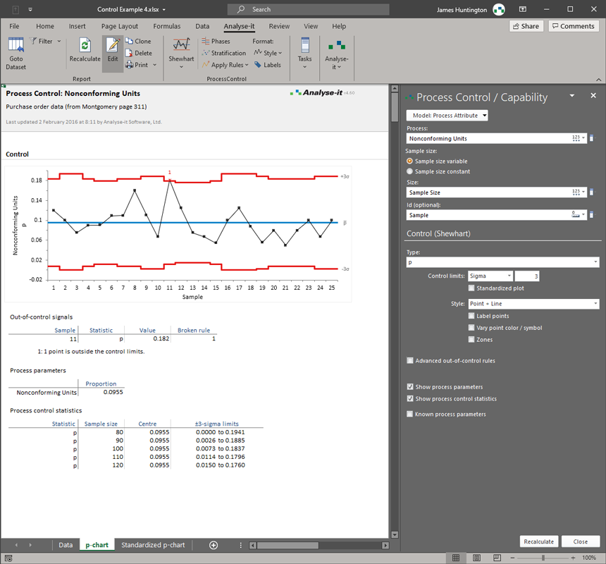 Excel Statistical Process Control add-in statistics